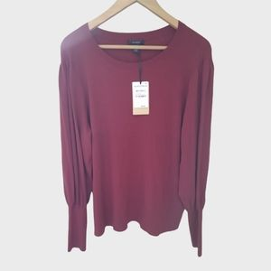 New Halogen Puff Sleeve Sweater XL Red Pomegranate